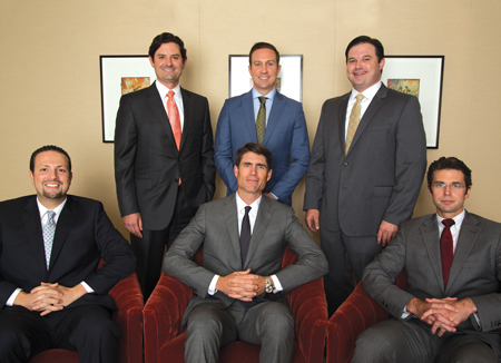 Standing from left to right: Brett Berly (Estate Planning); Justin VandenBout (Insurance); and F. Daniel Knight (Admiralty, Maritime and Energy) Seated from left to right: Habeeb I. Gnaim (Tax Law); Collin Rose (Intellectual Property); and Ryan Cantrell (Wills, Trusts, and Estates)