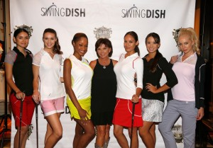 LAS VEGAS, NV - AUGUST 18:  SwingDish creator and designer Tricia Covel (C) attends the SwingDish Launch Event at The Country Club at Wynn Las Vegas on August 18, 2015 in Las Vegas, Nevada.  (Photo by Isaac Brekken/Getty Images for Swingdish)