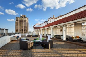 Sky Terrace. Relaxing luxury furniture and San Antonio views.